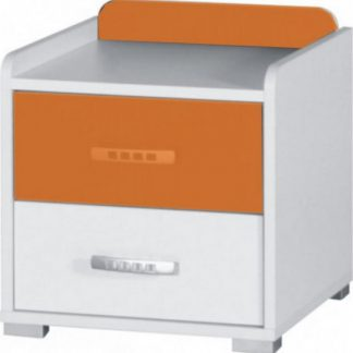 Falco Noční stolek Neymar - bílá/oranžový lesk