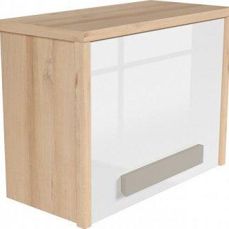 BRW Závěsná skříň Namek SFW1D - buk iconic/bílý lesk/šedá