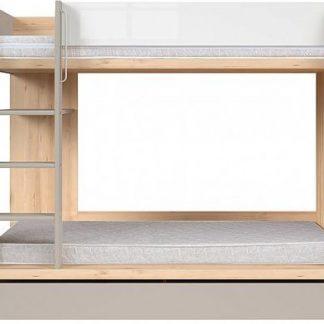 BRW Dvoupatrová postel Namek - buk iconic/bílý lesk/šedá