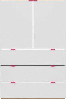 BRW Komoda Princeton KOM2D3S - bílý lesk/dub polský/fuchsiová