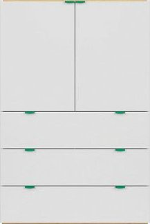 BRW Komoda Princeton KOM2D3S - bílý lesk/dub polský/zelená