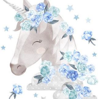 Pastelowelove Samolepka na zeď jednorožec - modrý