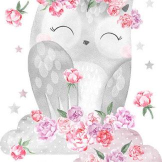 Pastelowelove Samolepka na zeď sovička - růžová