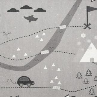 Livone Dětský koberec mapa pokladů - šedý 90x