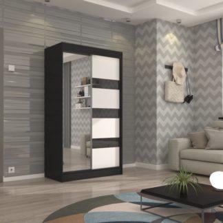 Černá šatní skříň zrcadlové dveře Ceuta 120 cm
