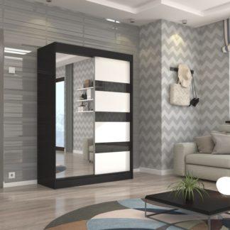 Moderní skříň černo-bílá se zrcadlem Ceuta 150 cm