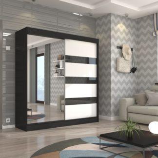 Černo-bílá šatní skříň Ceuta 200 cm