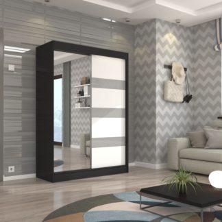 Černá skříň se zrcadlem a skleněnými pruhy 150 cm Valencie