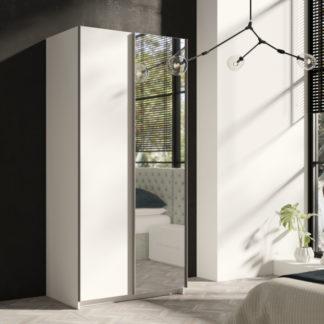 Bílá úzká šatní skříň Tithali 100 cm