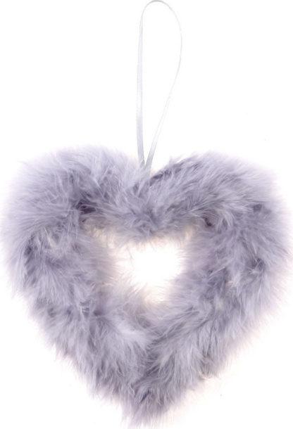 Autronic Šedé srdce z peří AK1901-GREY