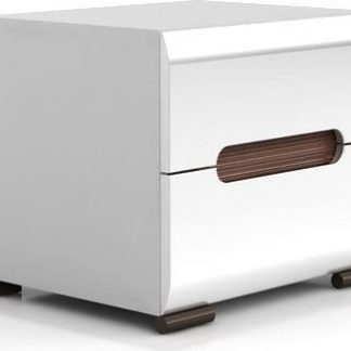 BRW Noční stolek Azteca KOM2S/4/5 Bílý/bílý vysoký lesk