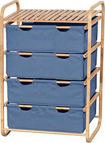 Autronic Bambusový regál - modrá látka Šírka 70 cm - DR-018A
