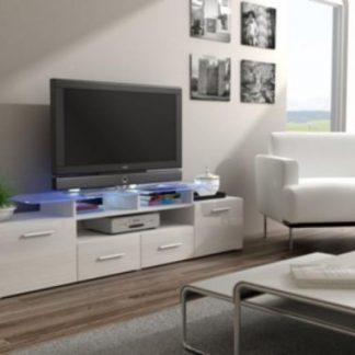 Cama Televizní stolek Evora RTV - bílá/bílý lesk