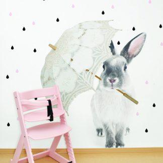 Forclaire Dekorace na zeď - králík Harry v dešti 43x55cm