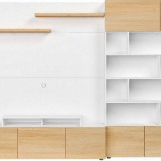 BRW Obývací stěna Muro /ASYM - bílá Canadian/dub polský
