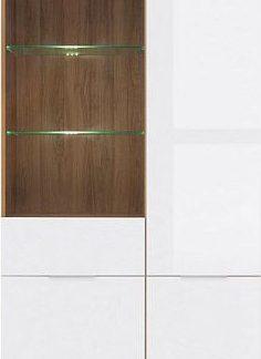 BRW Vitrína Zele REG1W3D - dub wotan/bílý lesk