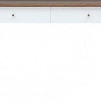 BRW Psací stůl Heda BIU2S - Bílá/modřín sibiu zlatý/bílý lesk