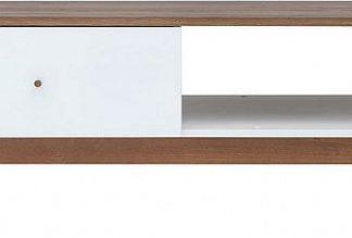 BRW Konferenční stolek Heda LAW1S - Bílá/modřín sibiu zlatý/bílý lesk