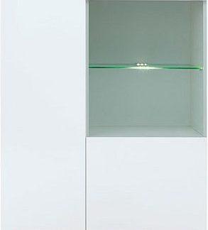 BRW Vitrína Heda REG1D1W - Bílá/modřín sibiu zlatý/bílý lesk