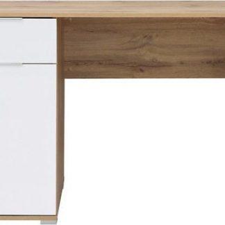 BRW Psací stůl Zele BIU/ - dub wotan/bílý lesk
