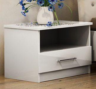 Casarredo Noční stolek PALERMO bílý/bílý lesk