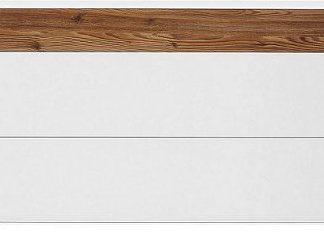 BRW Komoda Elis KOM3S chromované nožky - bílá/modřín sibiu světlý
