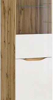 BRW Vitrína Nuis REG1D1W - dub wotan/bílý lesk