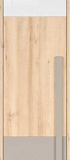 BRW Šatní skříň Namek SZF1D - buk iconic/bílý lesk/šedá