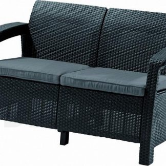 Deokork Zahradní ratanová pohovka 2-místná CORFU LOVE SEAT (antracit)