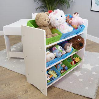 Forclaire Ourbaby organizér na hračky s modrými a zelenými boxy