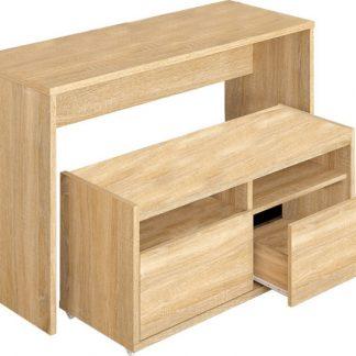Tempo Kondela Víceúčelový stůl a lavice DELIMA - dub sonoma + kupón KONDELA10 na okamžitou slevu 3% (kupón uplatníte v košíku)